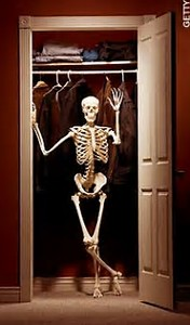 skeleton in closet